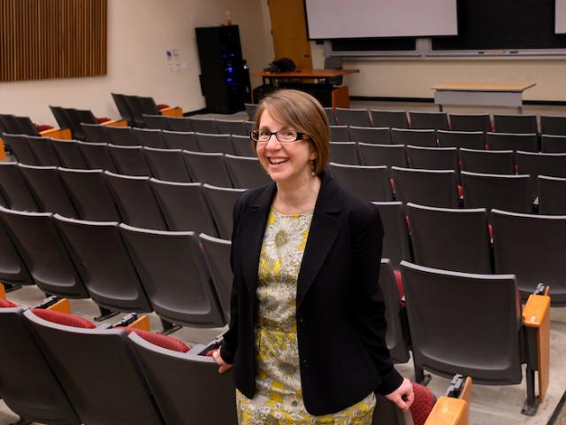 Emily Merchant in lecture hall