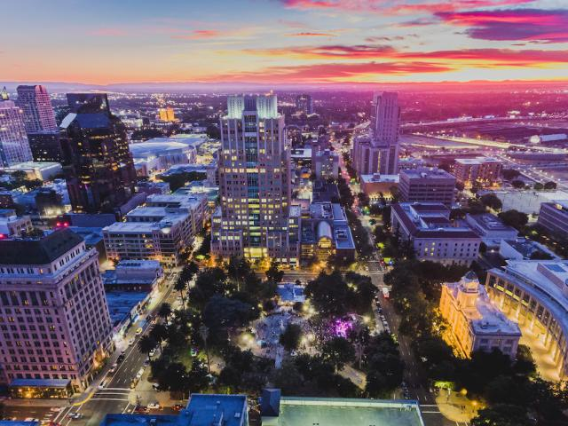 Sacramento with pink sunset